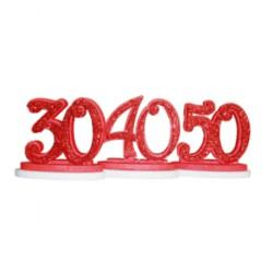 ALZATINA  50 ANNI ROSSO GLITTER