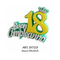 NUMERO 18 VERDE BIANCO E GIALLO CON CORONCINA